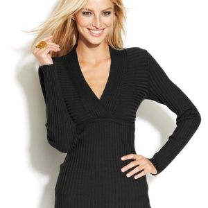 Ribbed-Knit Surplice-Neck Long-Sleeve Sweater